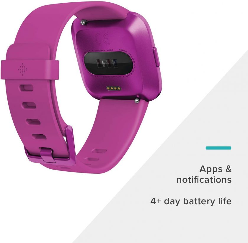 This is an image of Fitbit Versa Lite Edition Smart Watch in purple color.