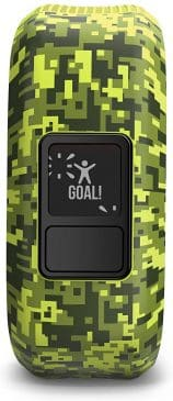 This is an image of Garmin vívofit jr with special green pattern.